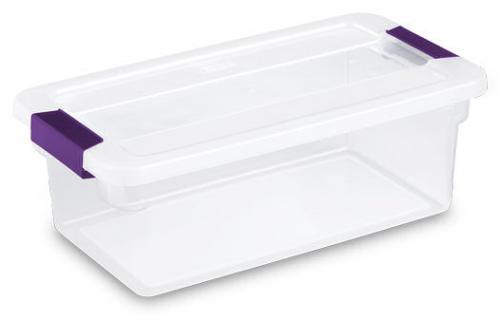Caja para almacenar transparente de plastico sterilite en for Cajas plasticas con ruedas