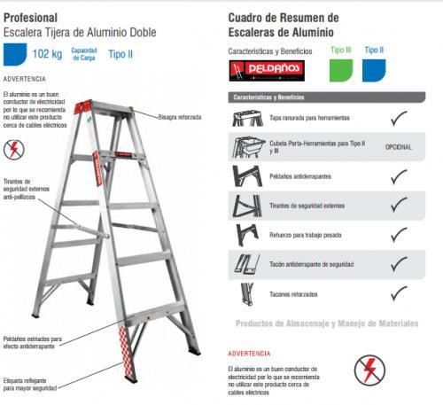Escalera tijera al 3 esc tipo iii tapa de aluminio en e for Escalera madera portatil